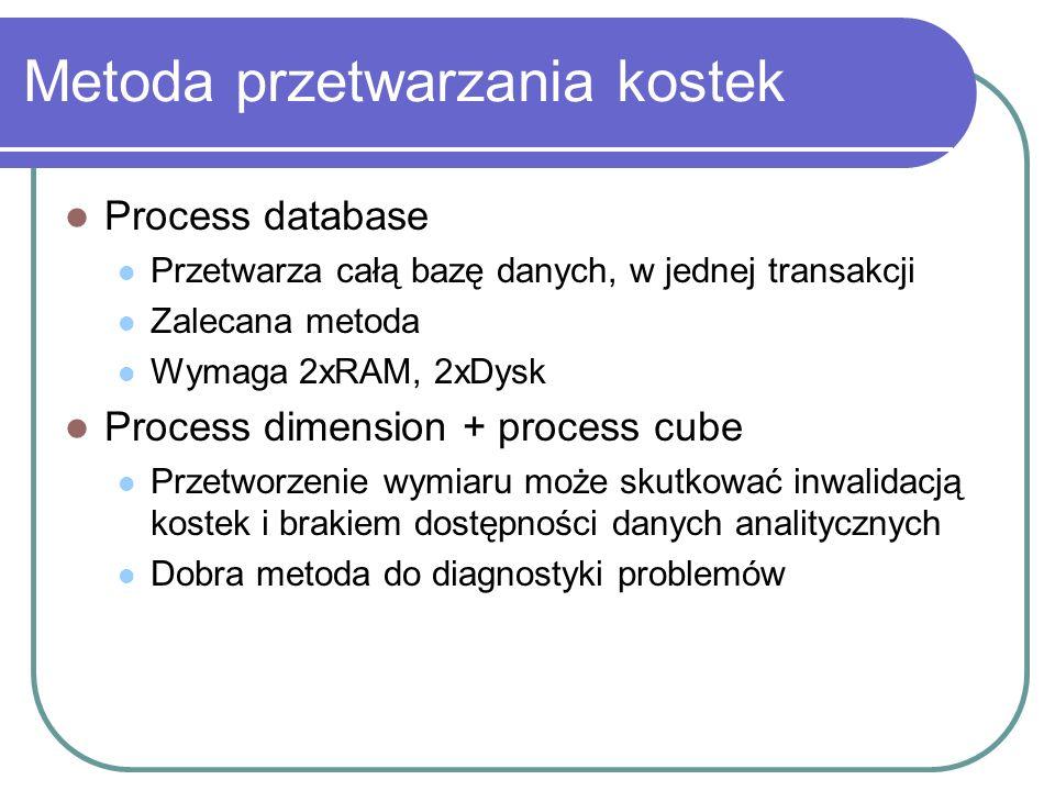 Metoda przetwarzania kostek Process database Przetwarza całą bazę danych, w jednej transakcji Zalecana metoda Wymaga 2xRAM, 2xDysk Process dimension +