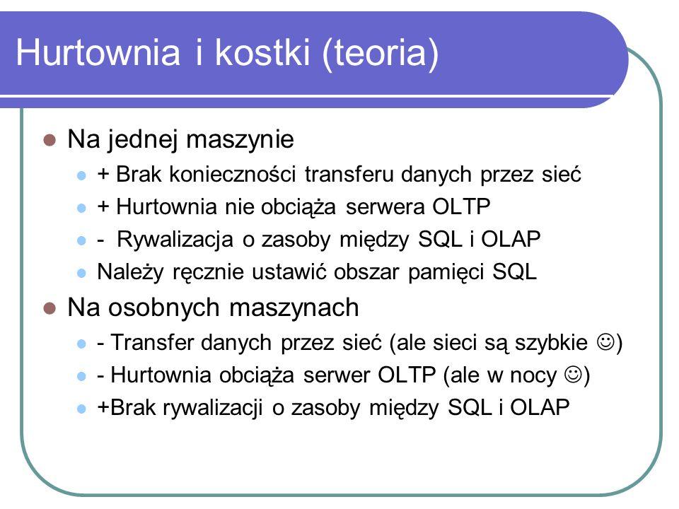 Hurtownia i kostki (teoria) Na jednej maszynie + Brak konieczności transferu danych przez sieć + Hurtownia nie obciąża serwera OLTP - Rywalizacja o za