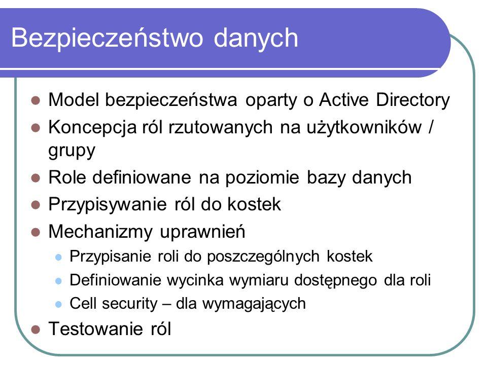Bezpieczeństwo danych Model bezpieczeństwa oparty o Active Directory Koncepcja ról rzutowanych na użytkowników / grupy Role definiowane na poziomie ba