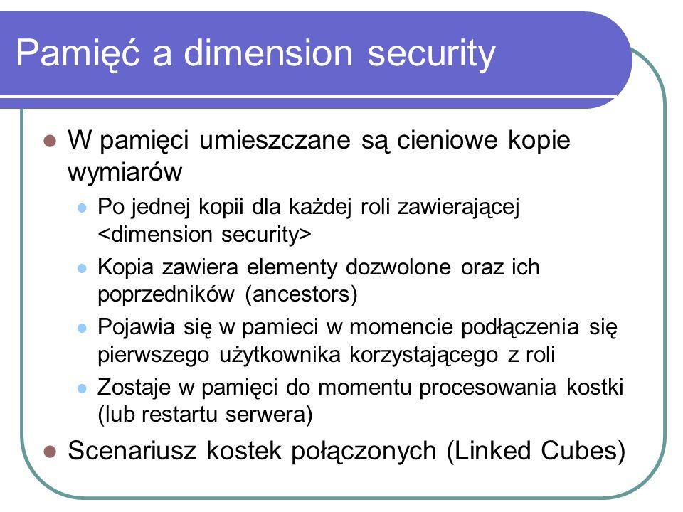 Pamięć a dimension security W pamięci umieszczane są cieniowe kopie wymiarów Po jednej kopii dla każdej roli zawierającej Kopia zawiera elementy dozwo