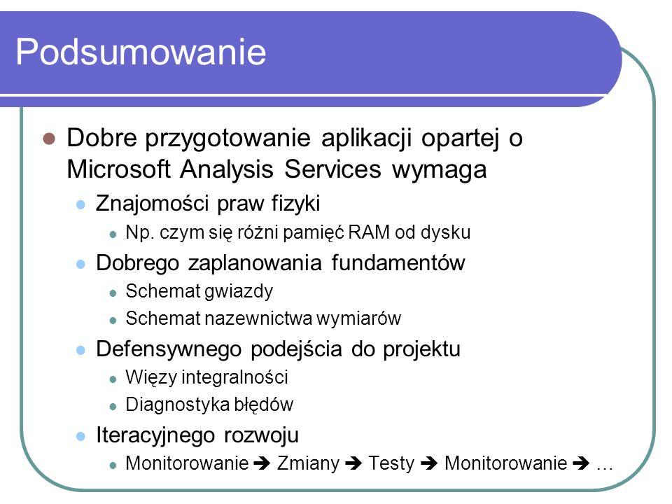 Podsumowanie Dobre przygotowanie aplikacji opartej o Microsoft Analysis Services wymaga Znajomości praw fizyki Np. czym się różni pamięć RAM od dysku