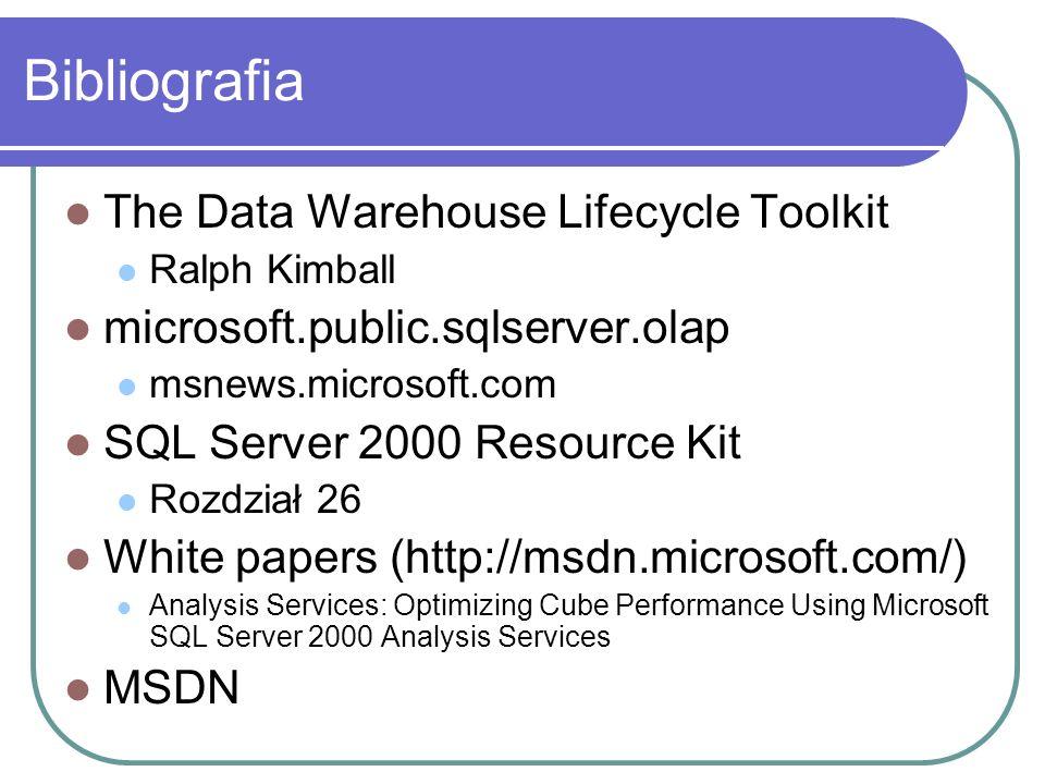Bibliografia The Data Warehouse Lifecycle Toolkit Ralph Kimball microsoft.public.sqlserver.olap msnews.microsoft.com SQL Server 2000 Resource Kit Rozd