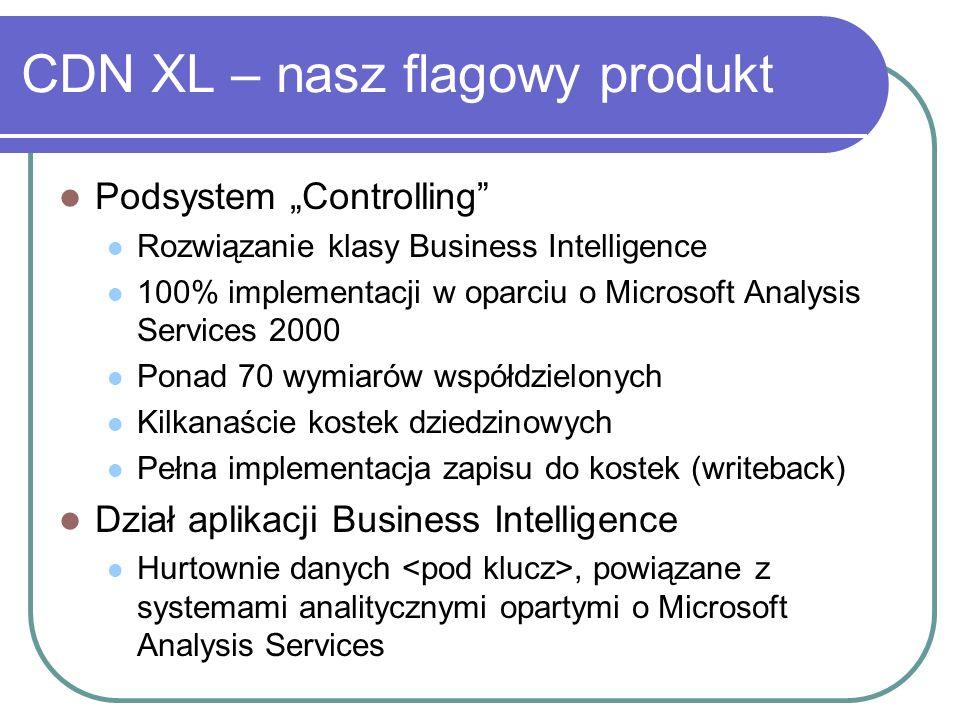 Podsystem Controlling Rozwiązanie klasy Business Intelligence 100% implementacji w oparciu o Microsoft Analysis Services 2000 Ponad 70 wymiarów współd