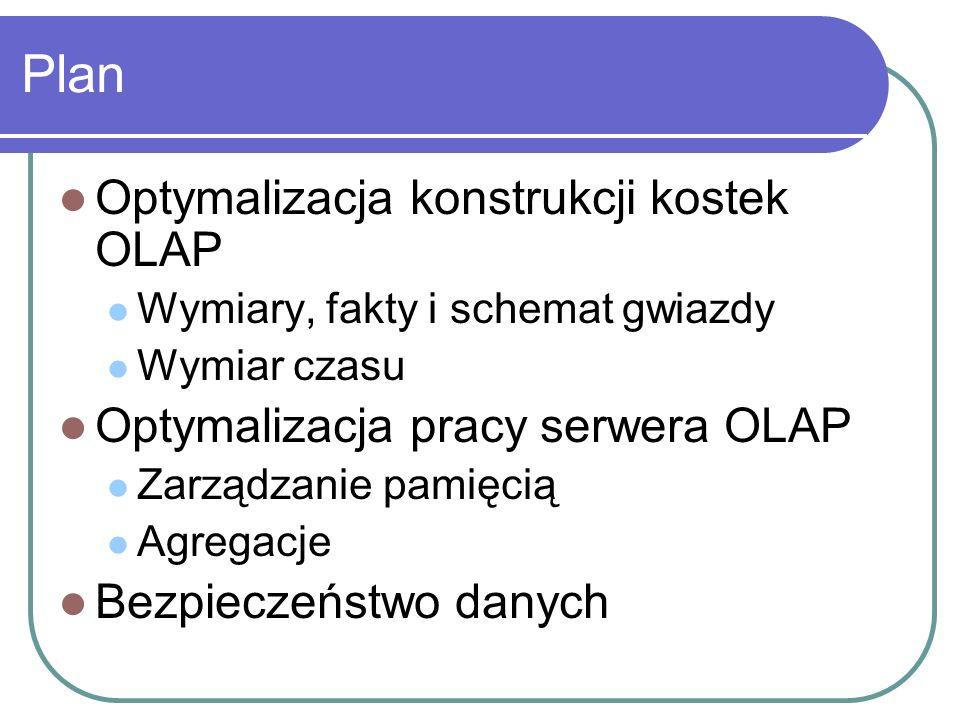 Plan Optymalizacja konstrukcji kostek OLAP Wymiary, fakty i schemat gwiazdy Wymiar czasu Optymalizacja pracy serwera OLAP Zarządzanie pamięcią Agregac