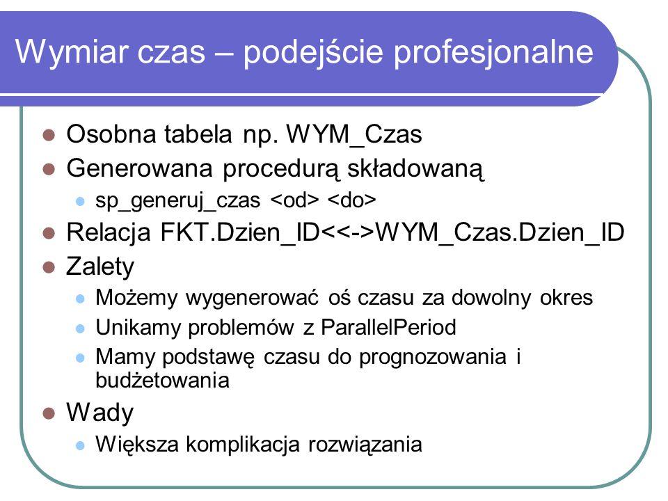 Wymiar czas – podejście profesjonalne Osobna tabela np. WYM_Czas Generowana procedurą składowaną sp_generuj_czas Relacja FKT.Dzien_ID WYM_Czas.Dzien_I