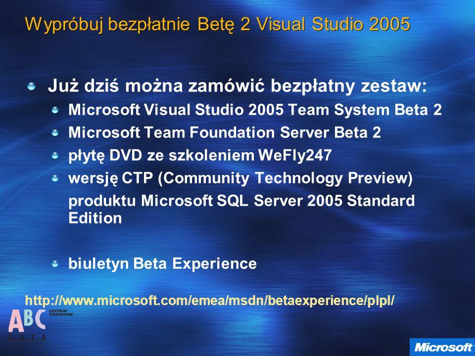 Wypróbuj bezpłatnie Betę 2 Visual Studio 2005 Już dziś można zamówić bezpłatny zestaw: Microsoft Visual Studio 2005 Team System Beta 2 Microsoft Team