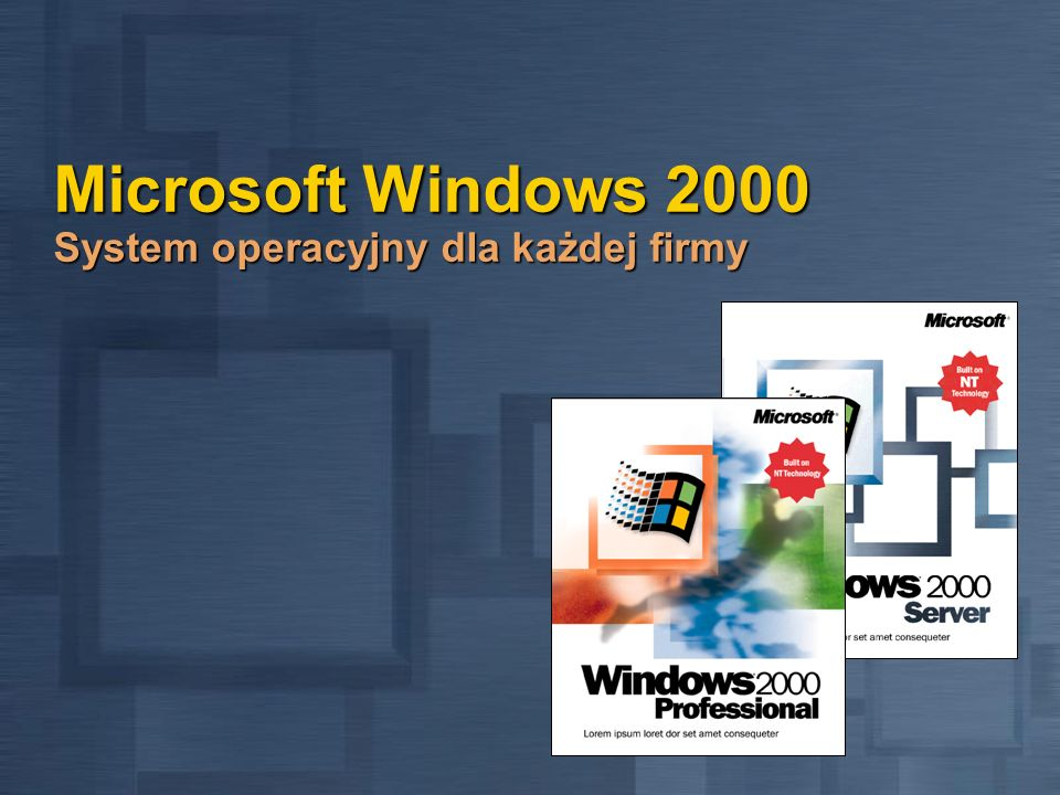 Windows 2000 Professional Moc Windows NT Współpraca z obecnymi rozwiązaniami Zgodność z rozwiązaniami sieciowymi Zgodność z rozwiązaniami sieciowymi Klient Windows Server Klient Windows Server Redirector Novell NetWare wbudowany w system Redirector Novell NetWare wbudowany w system Services for UNIX jako dodatek w celu łączenia się z serwerami UNIX Services for UNIX jako dodatek w celu łączenia się z serwerami UNIX Zaawansowany Remote Access i usprawniona komunikacja Zaawansowany Remote Access i usprawniona komunikacja TAPI 3.0 i integracja z NetMeeting TAPI 3.0 i integracja z NetMeeting Bardziej wydajny i szybszy stok TCPI Bardziej wydajny i szybszy stok TCPI Łatwiejsze, bardziej inteligentne połączenie dial-up Łatwiejsze, bardziej inteligentne połączenie dial-up