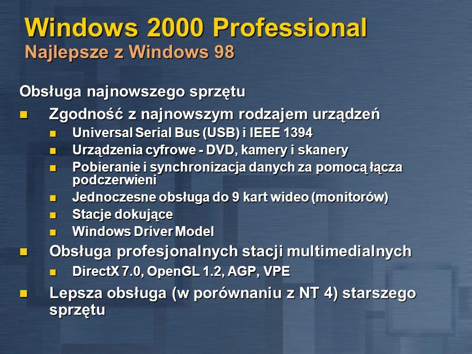 Windows 2000 Professional Najlepsze z Windows 98 Obsługa najnowszego sprzętu Zgodność z najnowszym rodzajem urządzeń Zgodność z najnowszym rodzajem ur