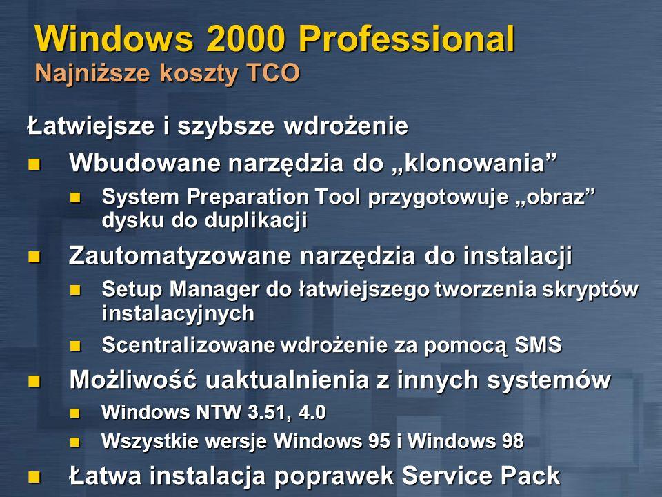 Windows 2000 Professional Najniższe koszty TCO Łatwiejsze i szybsze wdrożenie Wbudowane narzędzia do klonowania Wbudowane narzędzia do klonowania Syst