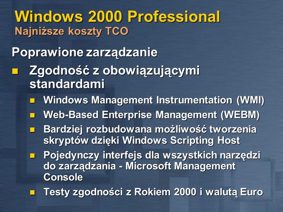 Windows 2000 Professional Najniższe koszty TCO Poprawione zarządzanie Zgodność z obowiązującymi standardami Zgodność z obowiązującymi standardami Wind