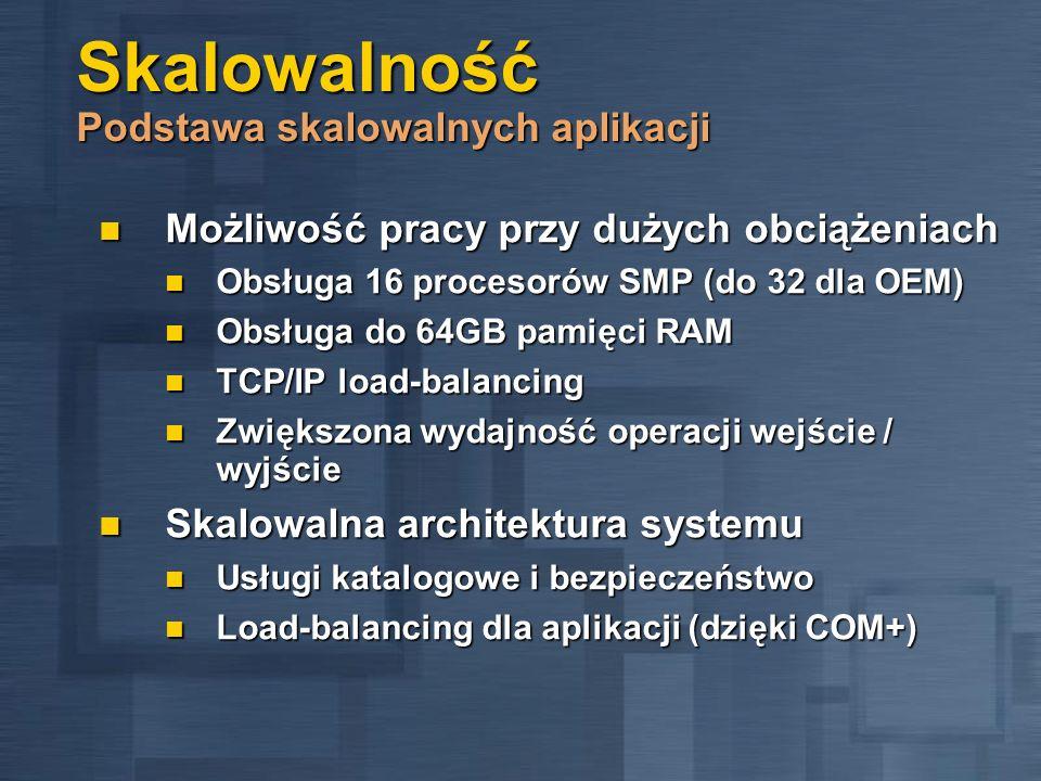 Skalowalność Podstawa skalowalnych aplikacji Możliwość pracy przy dużych obciążeniach Możliwość pracy przy dużych obciążeniach Obsługa 16 procesorów S