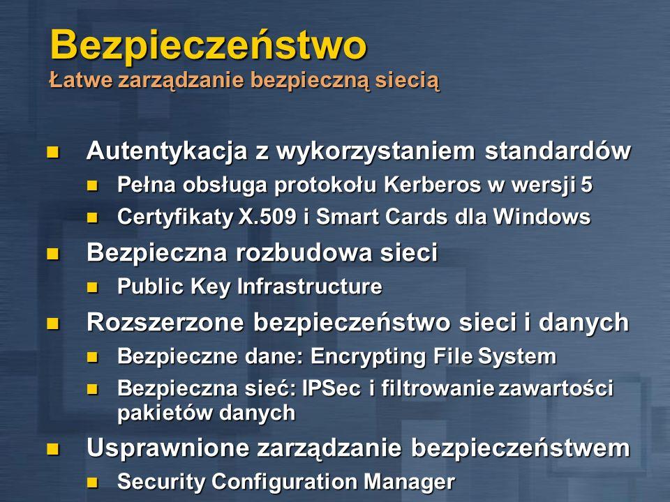 Bezpieczeństwo Łatwe zarządzanie bezpieczną siecią Autentykacja z wykorzystaniem standardów Autentykacja z wykorzystaniem standardów Pełna obsługa pro