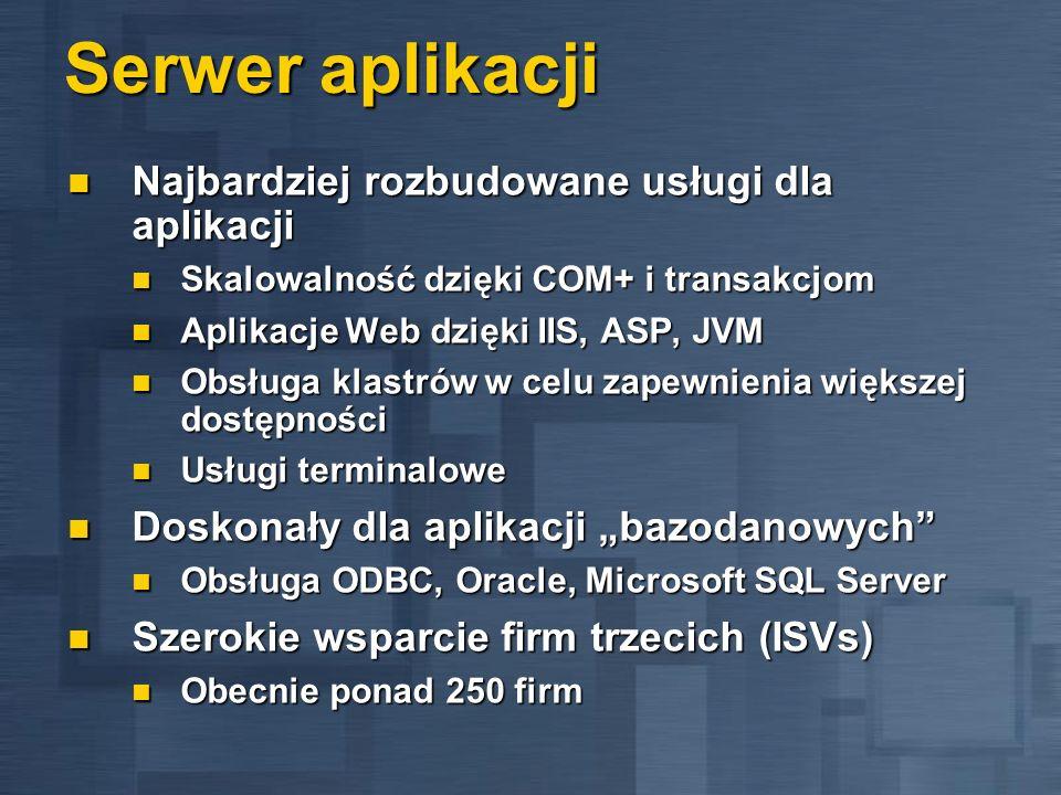 Serwer aplikacji Najbardziej rozbudowane usługi dla aplikacji Najbardziej rozbudowane usługi dla aplikacji Skalowalność dzięki COM+ i transakcjom Skal