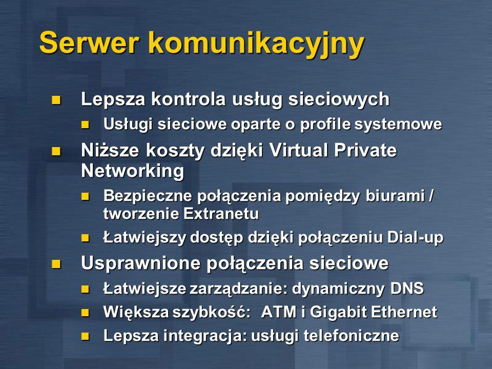 Serwer komunikacyjny Lepsza kontrola usług sieciowych Lepsza kontrola usług sieciowych Usługi sieciowe oparte o profile systemowe Usługi sieciowe opar