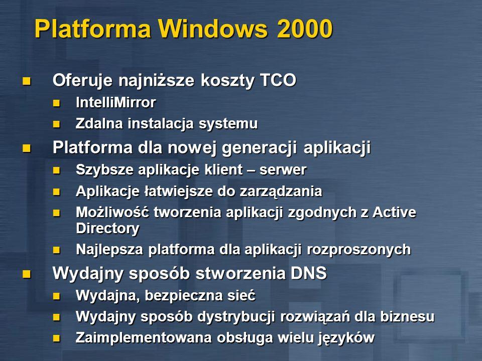 Platforma Windows 2000 Oferuje najniższe koszty TCO Oferuje najniższe koszty TCO IntelliMirror IntelliMirror Zdalna instalacja systemu Zdalna instalac