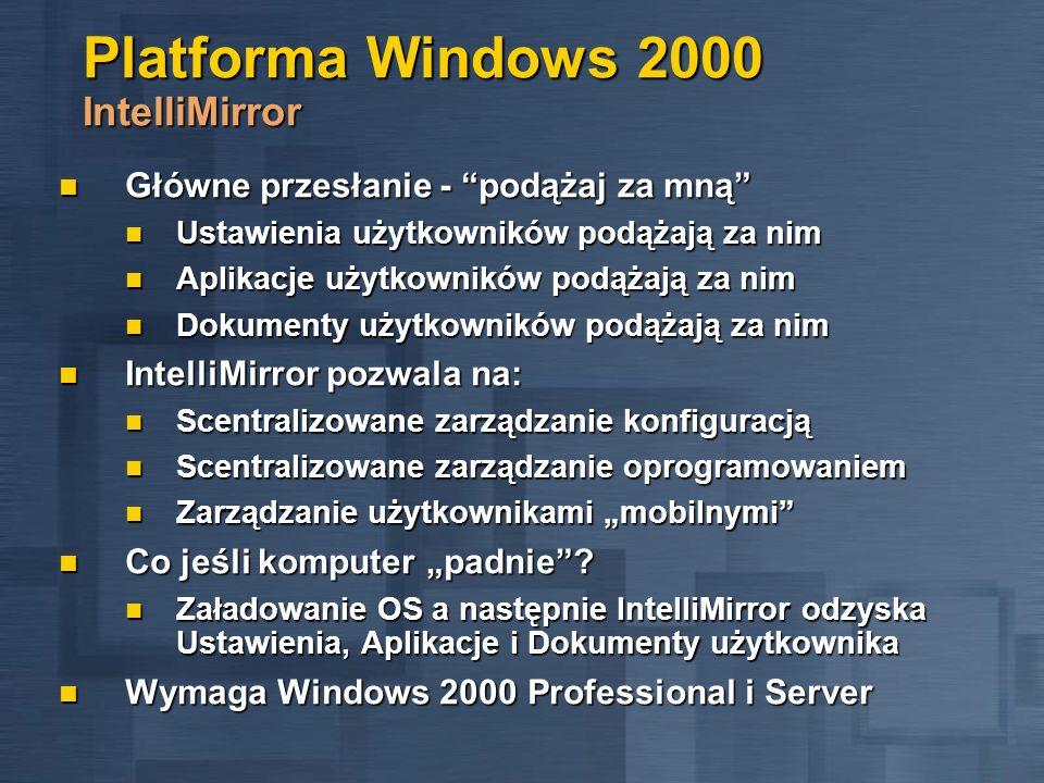 Platforma Windows 2000 IntelliMirror Główne przesłanie - podążaj za mną Główne przesłanie - podążaj za mną Ustawienia użytkowników podążają za nim Ust