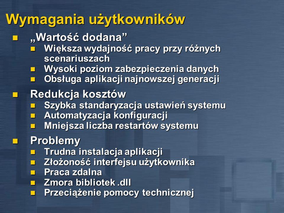 Platforma Windows 2000 IntelliMirror Główne przesłanie - podążaj za mną Główne przesłanie - podążaj za mną Ustawienia użytkowników podążają za nim Ustawienia użytkowników podążają za nim Aplikacje użytkowników podążają za nim Aplikacje użytkowników podążają za nim Dokumenty użytkowników podążają za nim Dokumenty użytkowników podążają za nim IntelliMirror pozwala na: IntelliMirror pozwala na: Scentralizowane zarządzanie konfiguracją Scentralizowane zarządzanie konfiguracją Scentralizowane zarządzanie oprogramowaniem Scentralizowane zarządzanie oprogramowaniem Zarządzanie użytkownikami mobilnymi Zarządzanie użytkownikami mobilnymi Co jeśli komputer padnie.