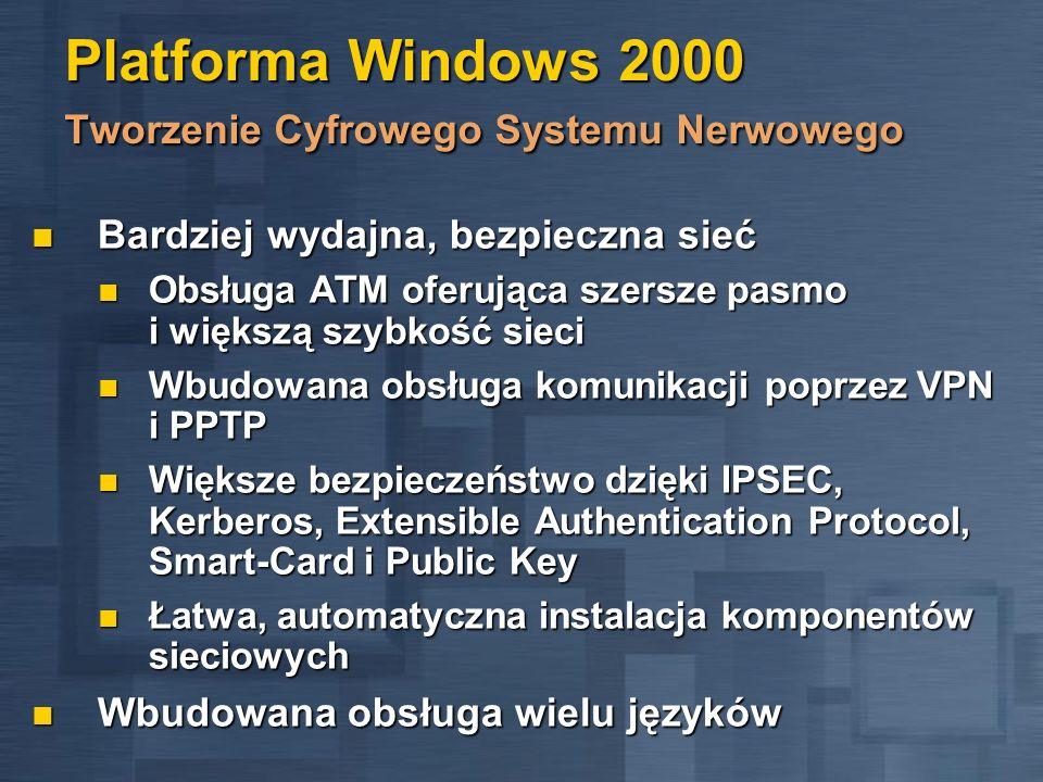 Platforma Windows 2000 Tworzenie Cyfrowego Systemu Nerwowego Bardziej wydajna, bezpieczna sieć Bardziej wydajna, bezpieczna sieć Obsługa ATM oferująca