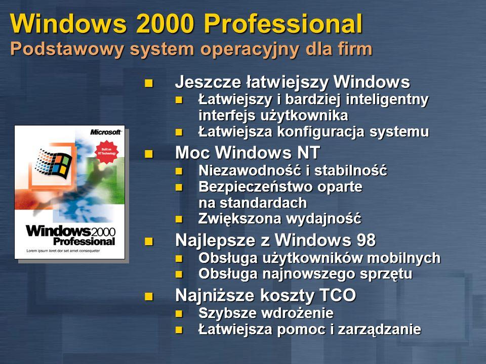 Windows 2000 Professional Najniższe koszty TCO Poprawione zarządzanie Zgodność z obowiązującymi standardami Zgodność z obowiązującymi standardami Windows Management Instrumentation (WMI) Windows Management Instrumentation (WMI) Web-Based Enterprise Management (WEBM) Web-Based Enterprise Management (WEBM) Bardziej rozbudowana możliwość tworzenia skryptów dzięki Windows Scripting Host Bardziej rozbudowana możliwość tworzenia skryptów dzięki Windows Scripting Host Pojedynczy interfejs dla wszystkich narzędzi do zarządzania - Microsoft Management Console Pojedynczy interfejs dla wszystkich narzędzi do zarządzania - Microsoft Management Console Testy zgodności z Rokiem 2000 i walutą Euro Testy zgodności z Rokiem 2000 i walutą Euro