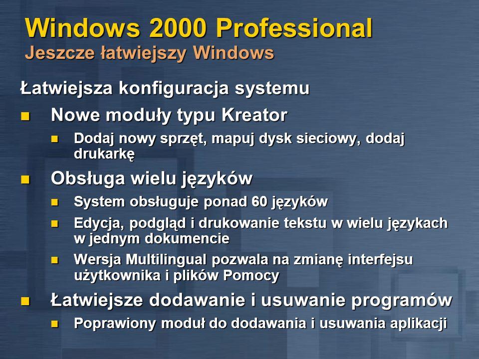 Skalowalność Współpraca Dostępność Zarządzanie Praca przy dużych obciążeniach Praca przy dużych obciążeniach Skalowalna architektura Skalowalna architektura Współpraca z NetWare, UNIX, MVS, OS/400 Współpraca z NetWare, UNIX, MVS, OS/400 Bardziej niezawodny Bardziej niezawodny Zaawansowane klastry Zaawansowane klastry Bardziej elastyczne zarządzanie Bardziej elastyczne zarządzanie Usprawnienia dla sieci Usprawnienia dla sieci Dlaczego Windows 2000?