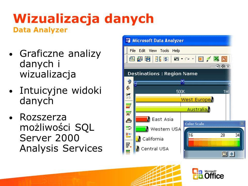 Wizualizacja danych Data Analyzer Graficzne analizy danych i wizualizacja Intuicyjne widoki danych Rozszerza możliwości SQL Server 2000 Analysis Servi