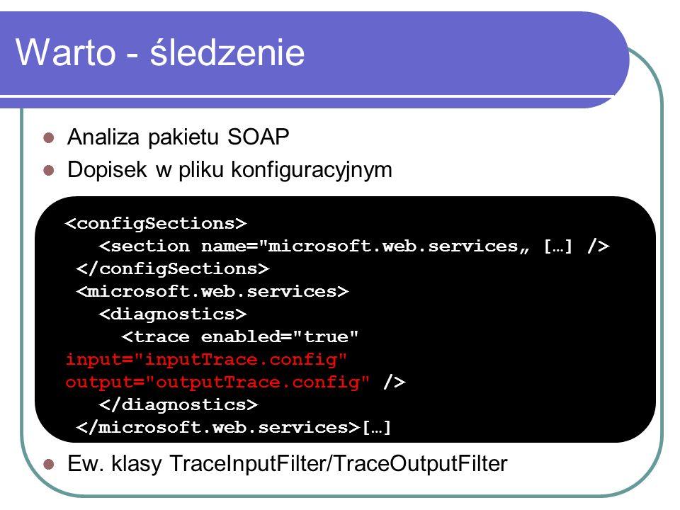 Warto - śledzenie Analiza pakietu SOAP Dopisek w pliku konfiguracyjnym Ew.