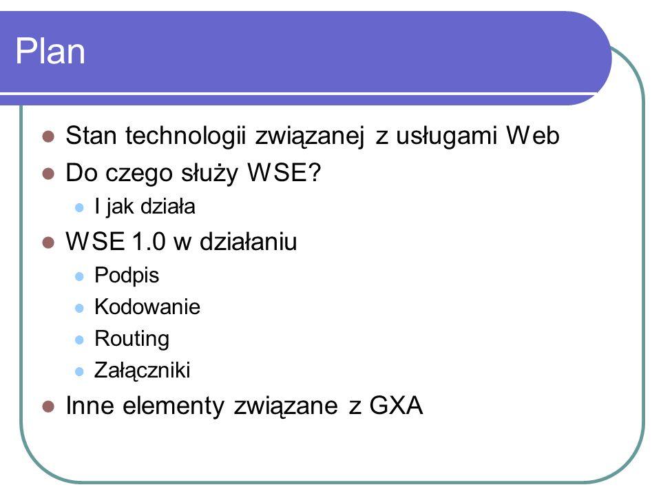 Plan Stan technologii związanej z usługami Web Do czego służy WSE.