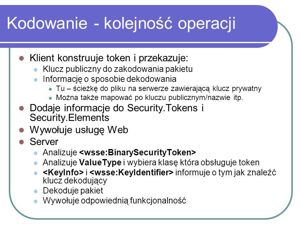 Kodowanie - kolejność operacji Klient konstruuje token i przekazuje: Klucz publiczny do zakodowania pakietu Informację o sposobie dekodowania Tu – ścieżkę do pliku na serwerze zawierającą klucz prywatny Można także mapować po kluczu publicznym/nazwie itp.