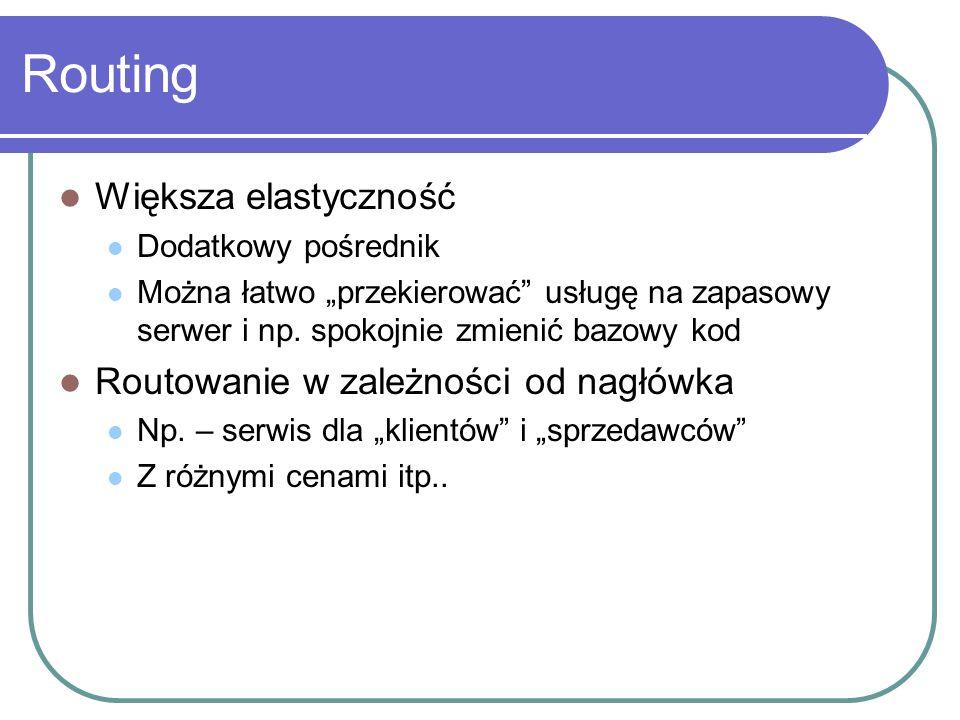 Większa elastyczność Dodatkowy pośrednik Można łatwo przekierować usługę na zapasowy serwer i np.