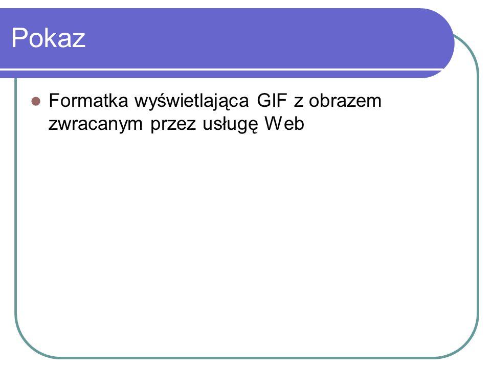 Pokaz Formatka wyświetlająca GIF z obrazem zwracanym przez usługę Web