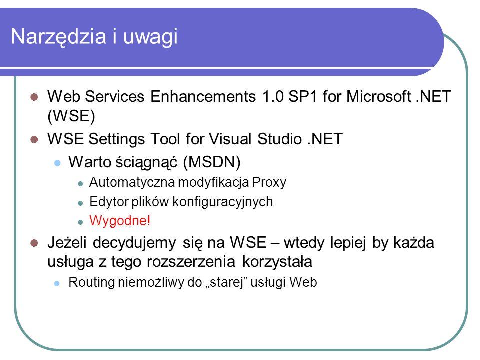 Istotne przestrzenie nazw Klient: Microsoft.Web.Services Serwer: System.Web.Services Dodatkowe usługi: Microsoft.Web.Services.Configuration Microsoft.Web.Services.Diagnostics Microsoft.Web.Services.Dime Microsoft.Web.Services.Referral Microsoft.Web.Services.Routing Microsoft.Web.Services.Security Microsoft.Web.Services.Security.X509.X509Certificates ( część funkcji dziedziczy z System.Security.Cryptography.X509Certificates ) Microsoft.Web.Services.Timestamp