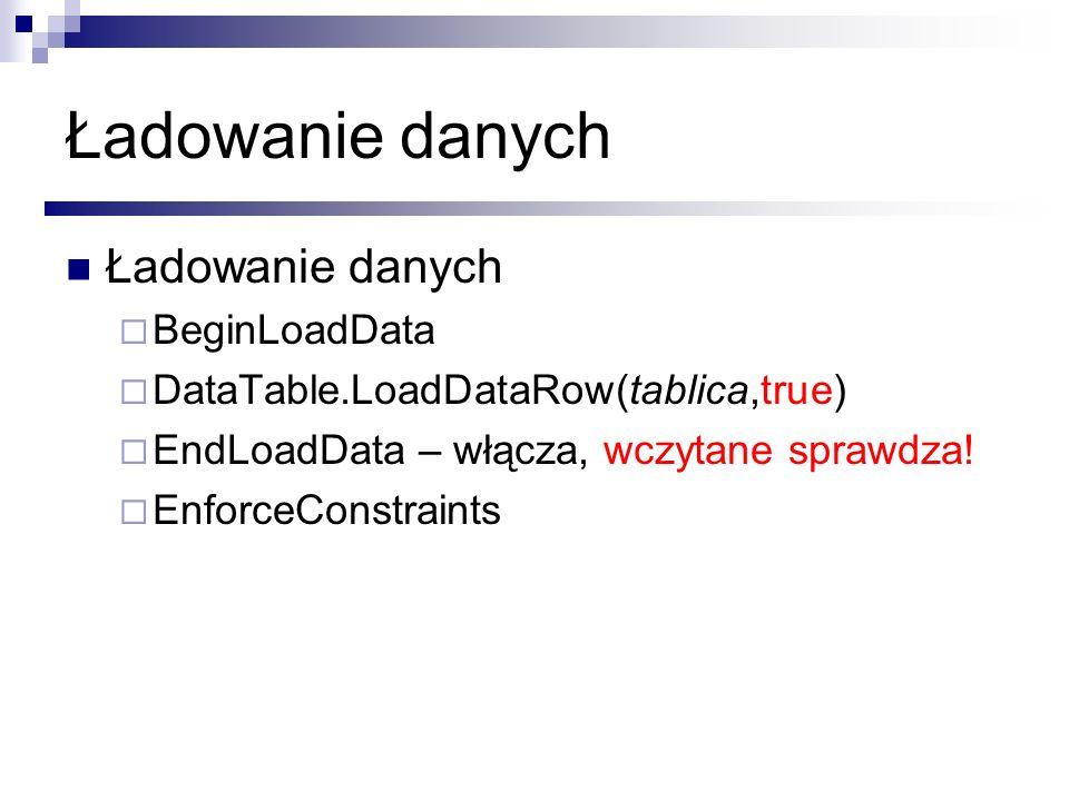 Ładowanie danych BeginLoadData DataTable.LoadDataRow(tablica,true) EndLoadData – włącza, wczytane sprawdza! EnforceConstraints