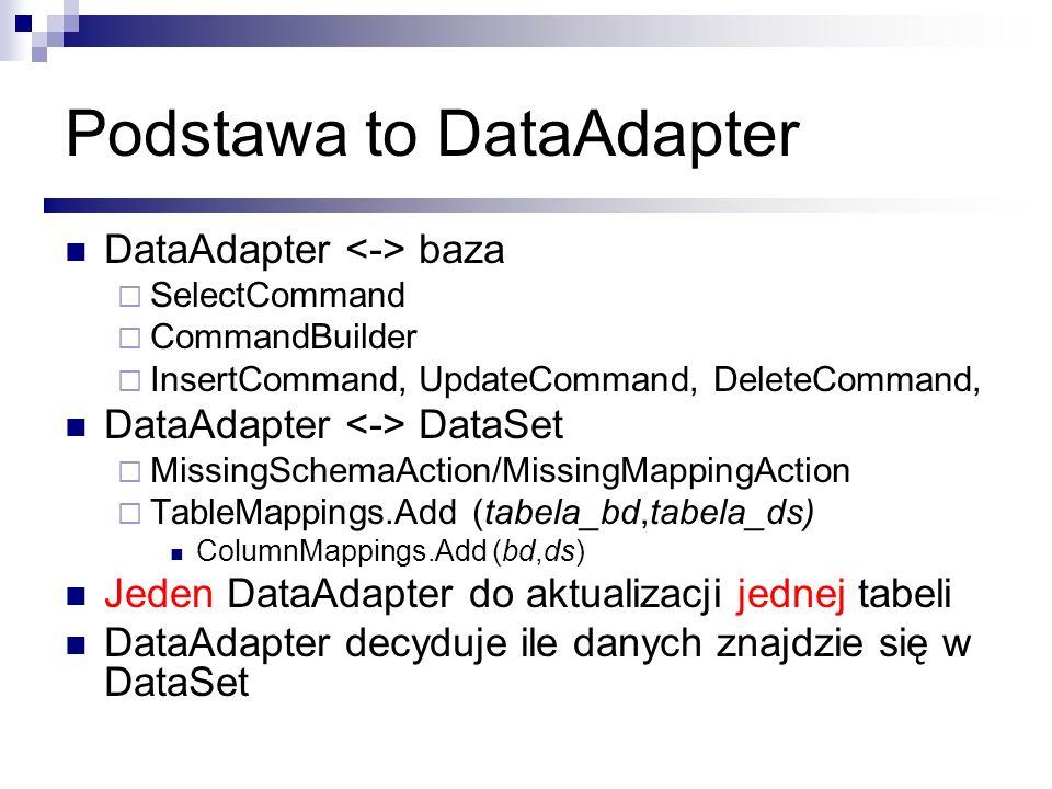 Podstawa to DataAdapter DataAdapter baza SelectCommand CommandBuilder InsertCommand, UpdateCommand, DeleteCommand, DataAdapter DataSet MissingSchemaAc