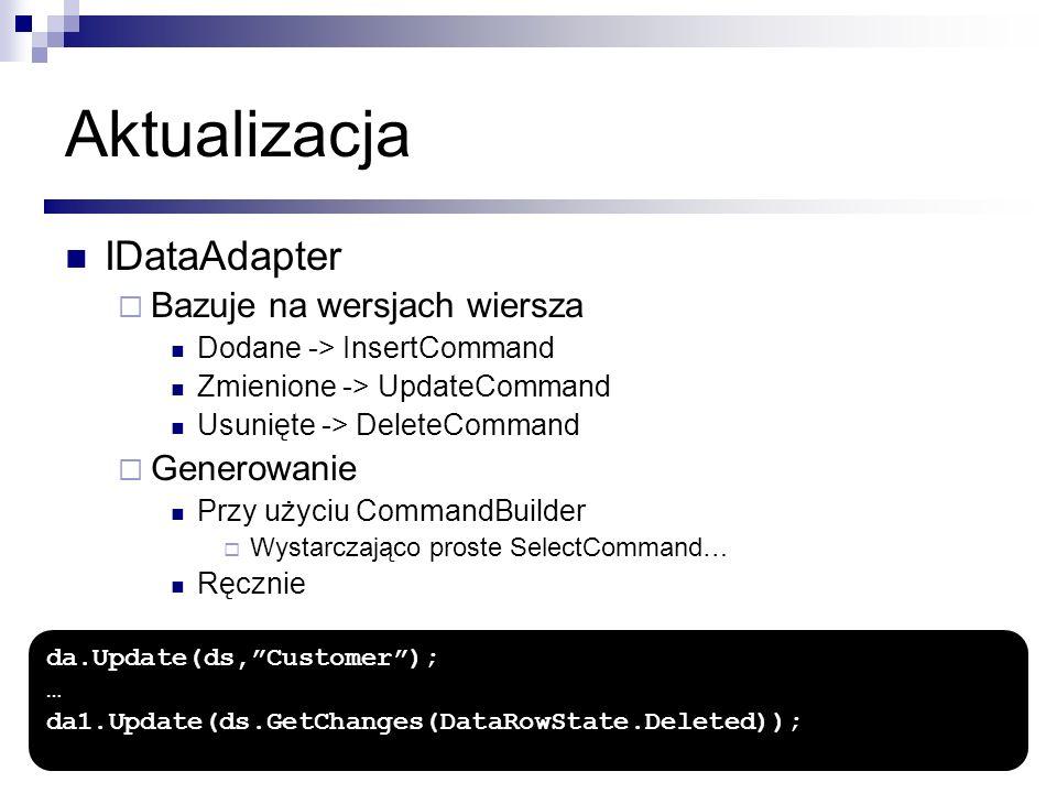 Aktualizacja IDataAdapter Bazuje na wersjach wiersza Dodane -> InsertCommand Zmienione -> UpdateCommand Usunięte -> DeleteCommand Generowanie Przy uży