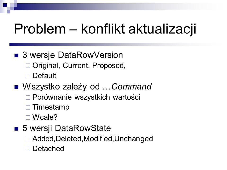 Problem – konflikt aktualizacji 3 wersje DataRowVersion Original, Current, Proposed, Default Wszystko zależy od …Command Porównanie wszystkich wartośc