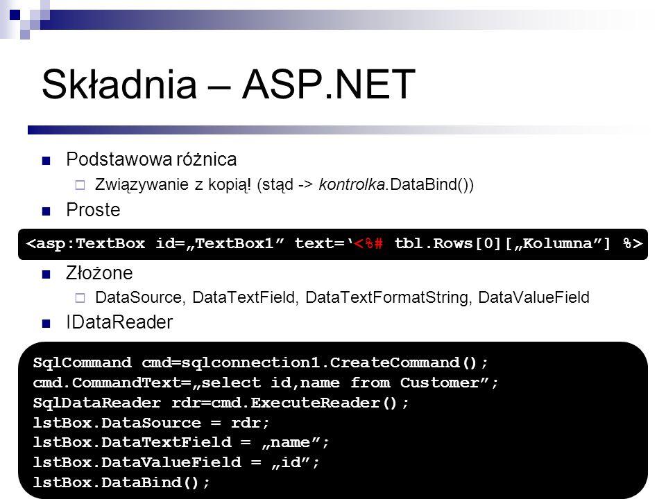 Składnia – ASP.NET Podstawowa różnica Związywanie z kopią! (stąd -> kontrolka.DataBind()) Proste Złożone DataSource, DataTextField, DataTextFormatStri