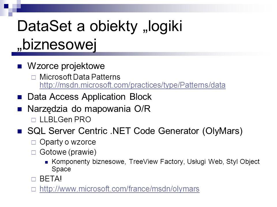 DataSet a obiekty logiki biznesowej Wzorce projektowe Microsoft Data Patterns http://msdn.microsoft.com/practices/type/Patterns/data http://msdn.micro