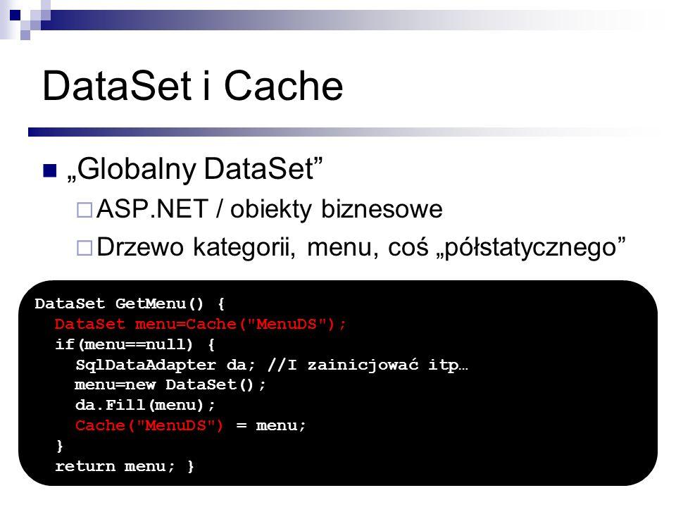 DataSet i Cache Globalny DataSet ASP.NET / obiekty biznesowe Drzewo kategorii, menu, coś półstatycznego DataSet GetMenu() { DataSet menu=Cache(