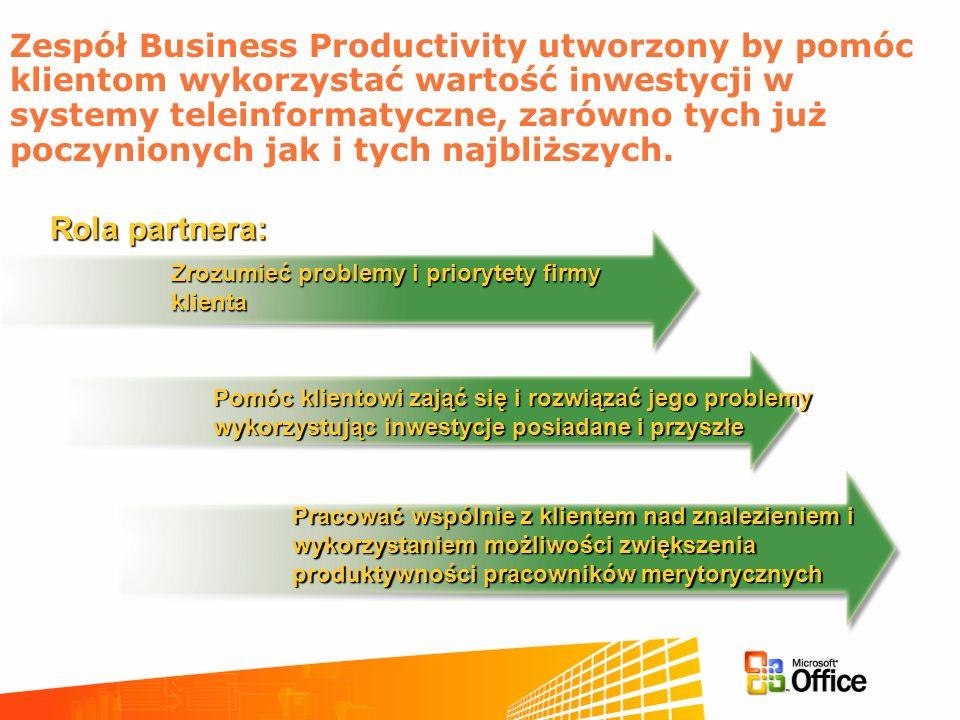 Zespół Business Productivity utworzony by pomóc klientom wykorzystać wartość inwestycji w systemy teleinformatyczne, zarówno tych już poczynionych jak