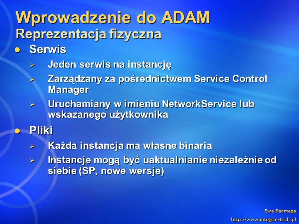 Ewa Baćmaga http://www.integral-tech.pl Wprowadzenie do ADAM Reprezentacja fizyczna Serwis Serwis Jeden serwis na instancję Jeden serwis na instancję