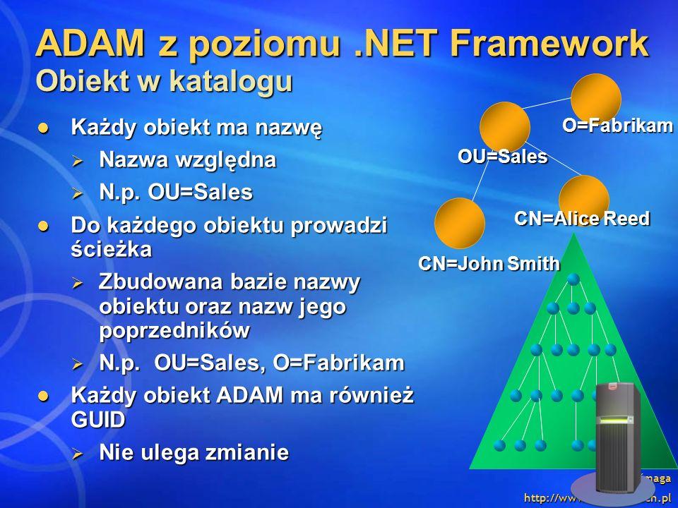 Ewa Baćmaga http://www.integral-tech.pl ADAM z poziomu.NET Framework Obiekt w katalogu Każdy obiekt ma nazwę Każdy obiekt ma nazwę Nazwa względna Nazw