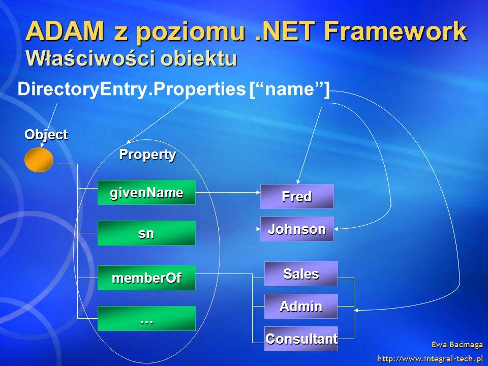 Ewa Baćmaga http://www.integral-tech.pl ADAM z poziomu.NET Framework Właściwości obiektu Object givenName Property sn Johnson … memberOf Fred Johnson