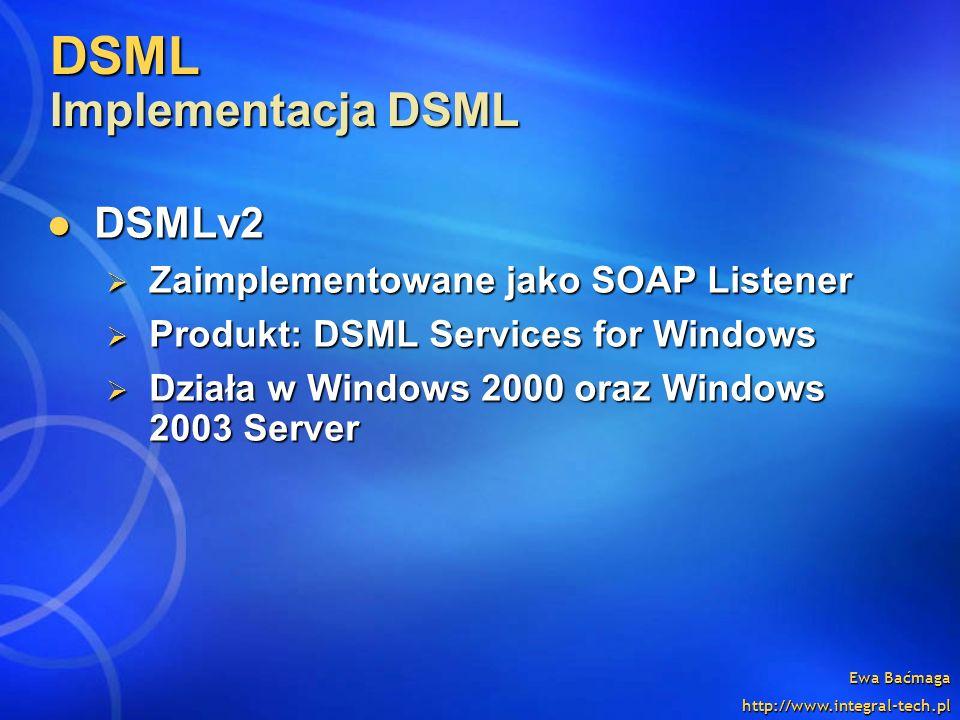 Ewa Baćmaga http://www.integral-tech.pl DSML Implementacja DSML DSMLv2 DSMLv2 Zaimplementowane jako SOAP Listener Zaimplementowane jako SOAP Listener