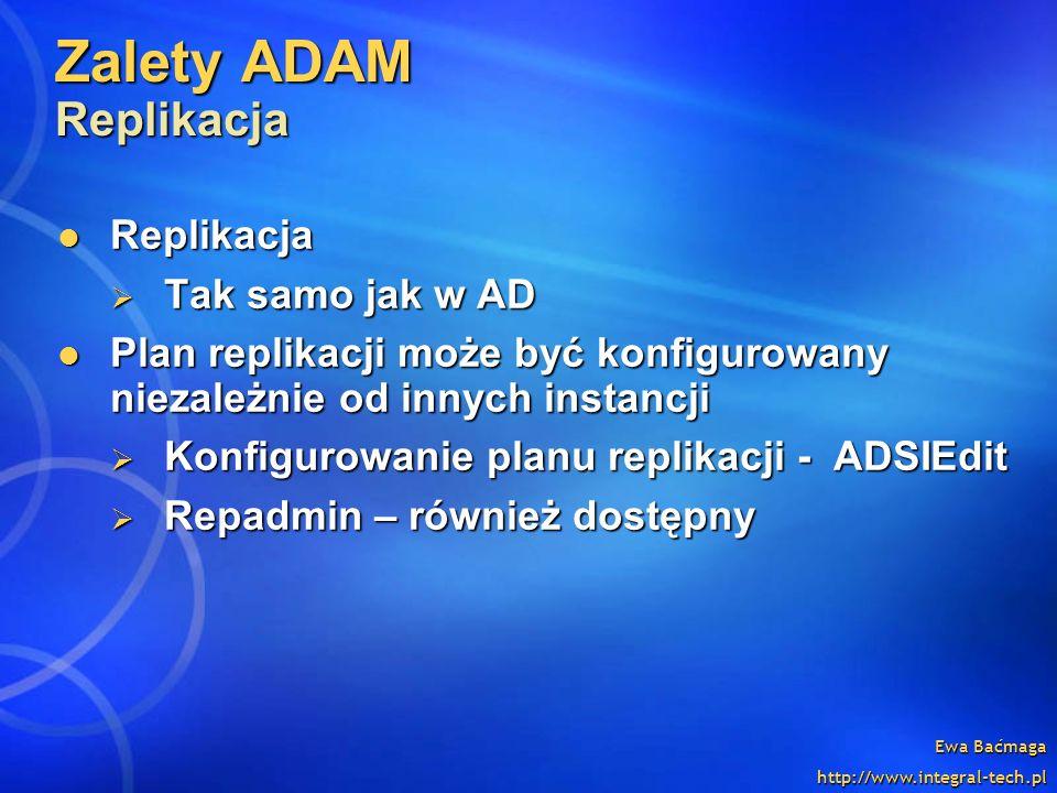 Ewa Baćmaga http://www.integral-tech.pl Zalety ADAM Replikacja Replikacja Replikacja Tak samo jak w AD Tak samo jak w AD Plan replikacji może być konf