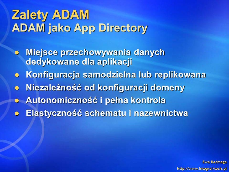 Ewa Baćmaga http://www.integral-tech.pl Zalety ADAM ADAM jako App Directory Miejsce przechowywania danych dedykowane dla aplikacji Miejsce przechowywa