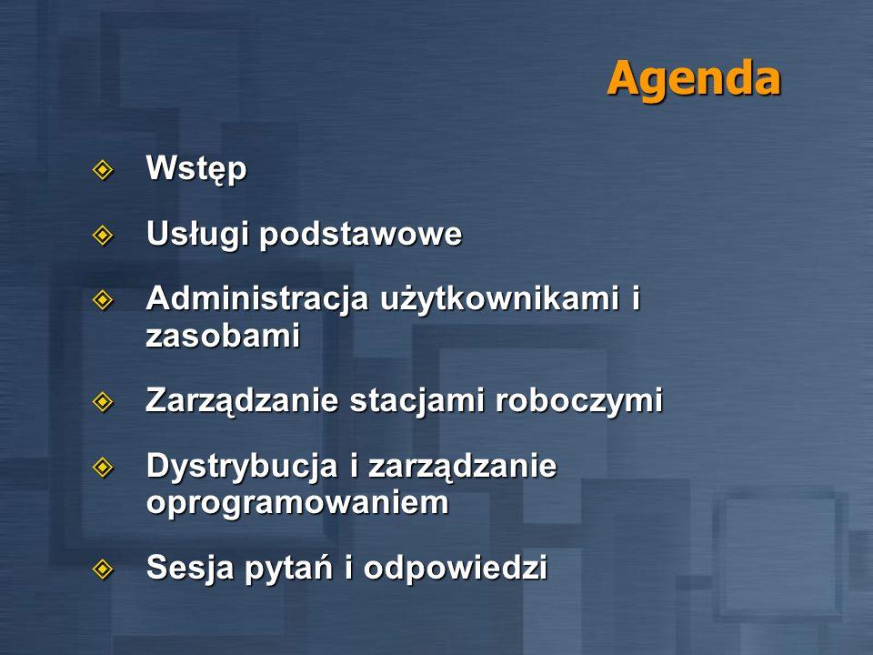 Agenda Wstęp Wstęp Usługi podstawowe Usługi podstawowe Administracja użytkownikami i zasobami Administracja użytkownikami i zasobami Zarządzanie stacj
