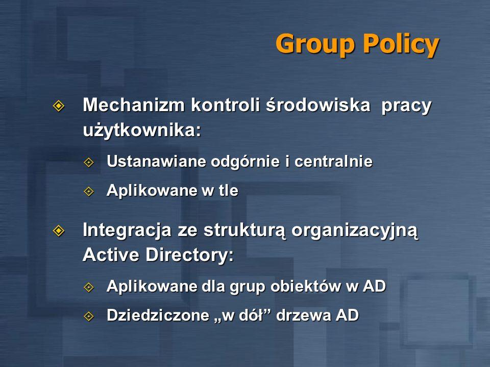 Group Policy Mechanizm kontroli środowiska pracy użytkownika: Mechanizm kontroli środowiska pracy użytkownika: Ustanawiane odgórnie i centralnie Ustan