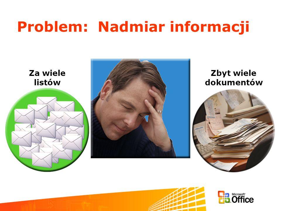 Problem: Nadmiar informacji Zbyt wiele dokumentów Za wiele listów