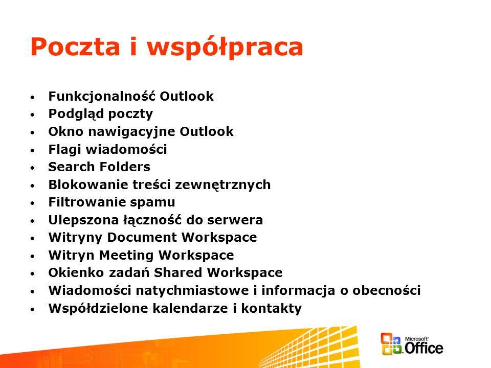 Poczta i współpraca Funkcjonalność Outlook Podgląd poczty Okno nawigacyjne Outlook Flagi wiadomości Search Folders Blokowanie treści zewnętrznych Filtrowanie spamu Ulepszona łączność do serwera Witryny Document Workspace Witryn Meeting Workspace Okienko zadań Shared Workspace Wiadomości natychmiastowe i informacja o obecności Współdzielone kalendarze i kontakty