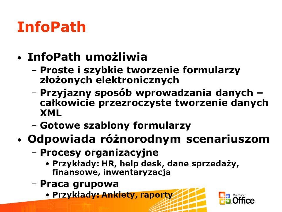 InfoPath InfoPath umożliwia –Proste i szybkie tworzenie formularzy złożonych elektronicznych –Przyjazny sposób wprowadzania danych – całkowicie przezr